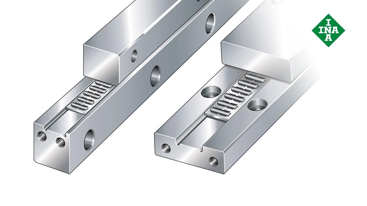 Sistemas de guiado lineal de Schaeffler: Carriles-guía J y S con jaulas planas de agujas